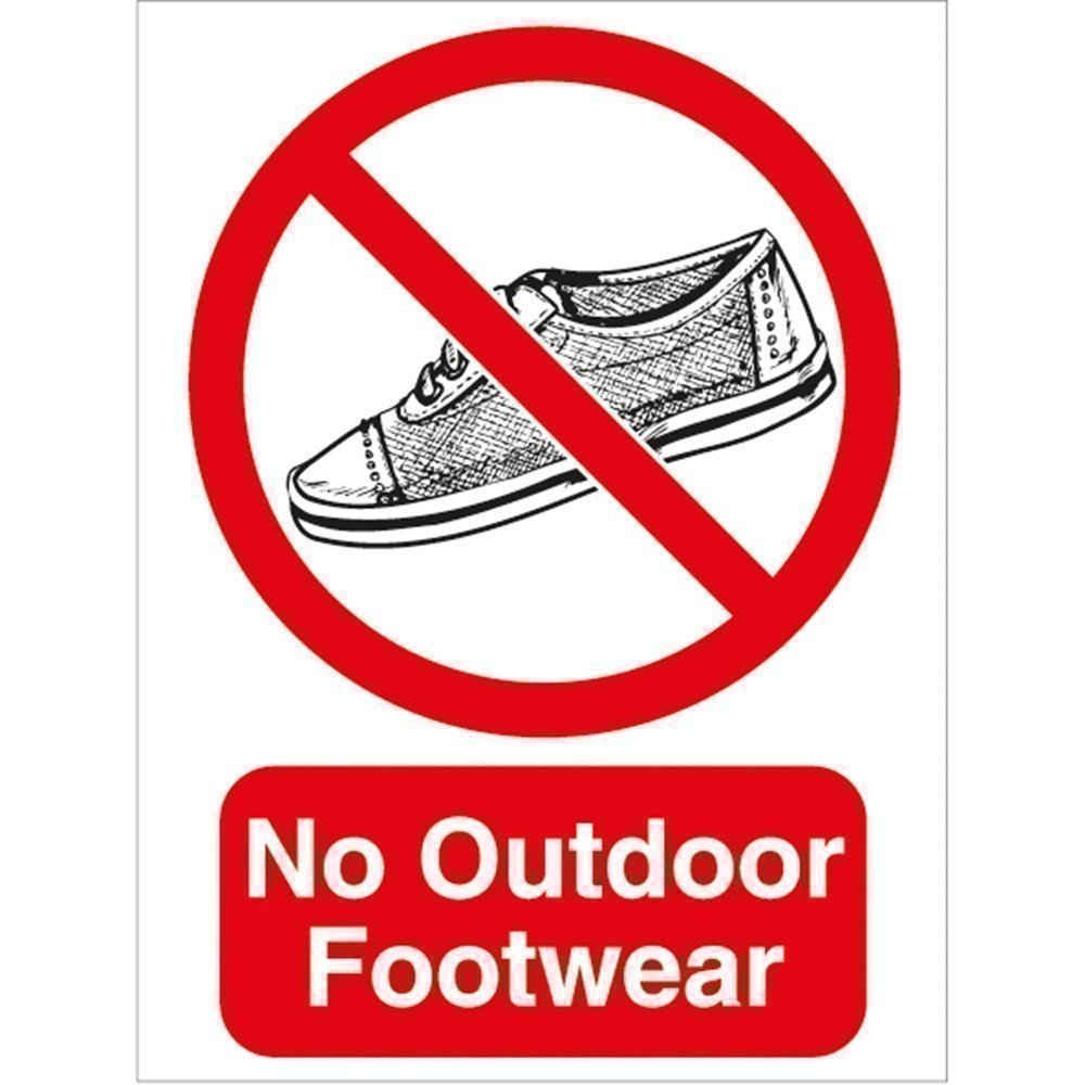 No Outdoor Footwear Sign Clocks And Signs Pool