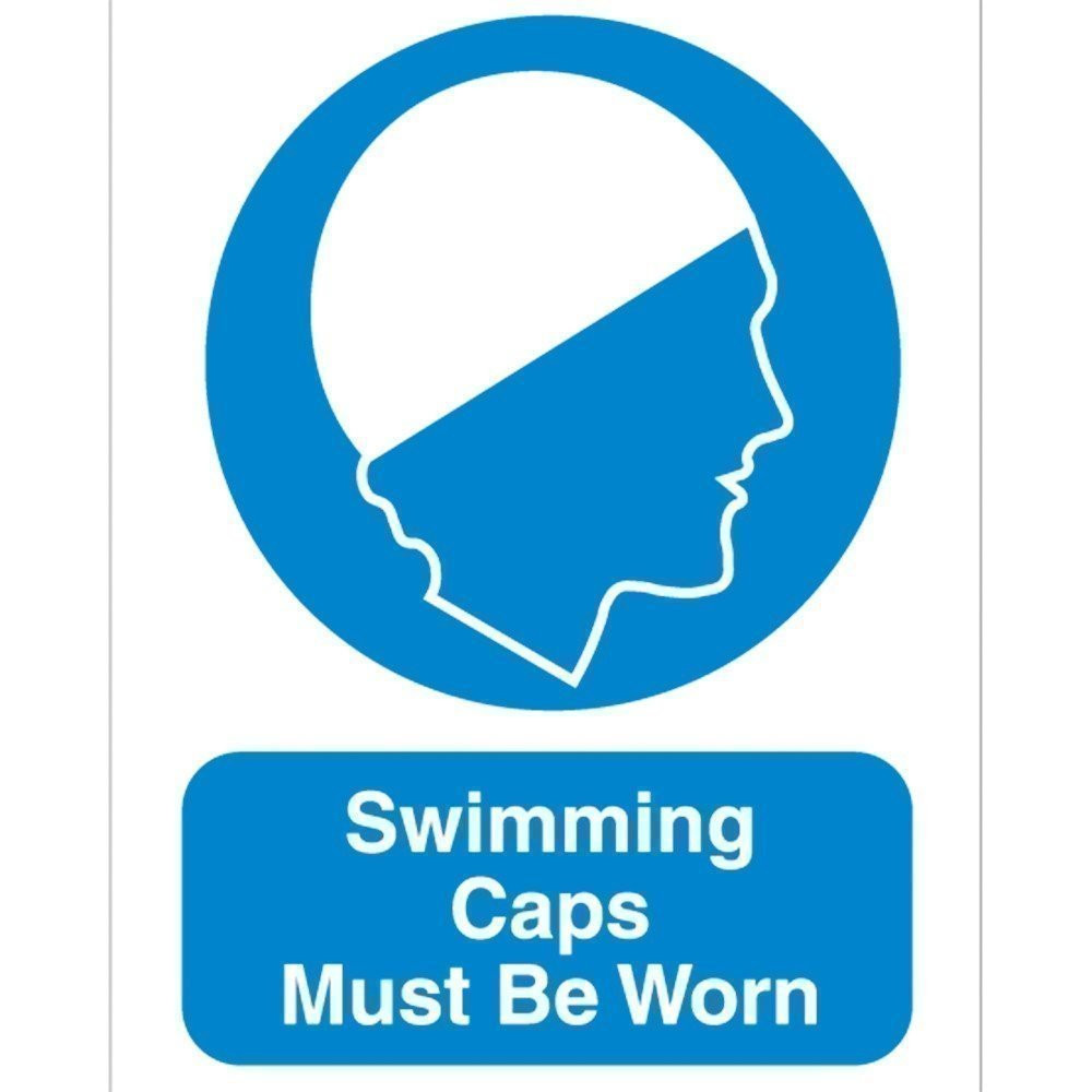 Swimming Caps Must Be Worn Sign
