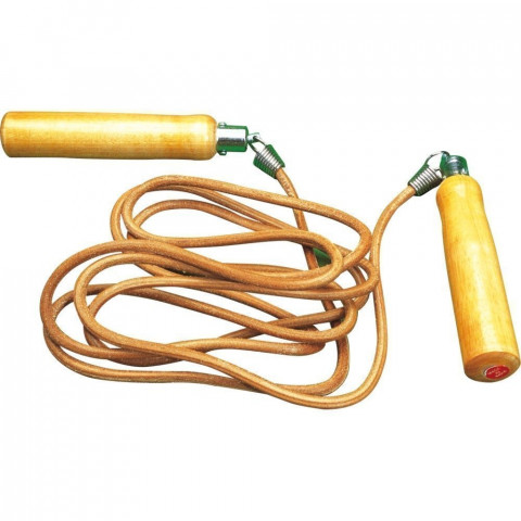 Leather Skipping Rope - Wooden Handle