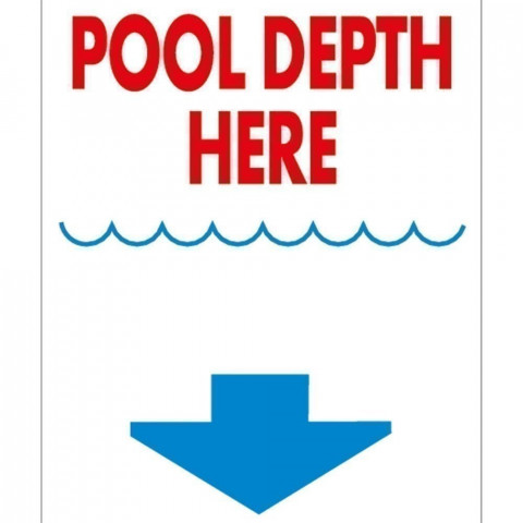 Pool Depth Here Signs